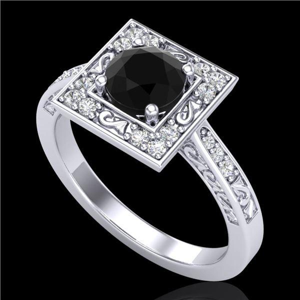 1.1 ctw Fancy Black Diamond Engagment Art Deco Ring 18k White Gold - REF-87G3W