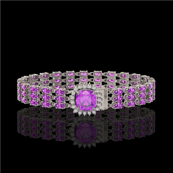 24.75 ctw Amethyst & Diamond Bracelet 14K White Gold - REF-281Y8X
