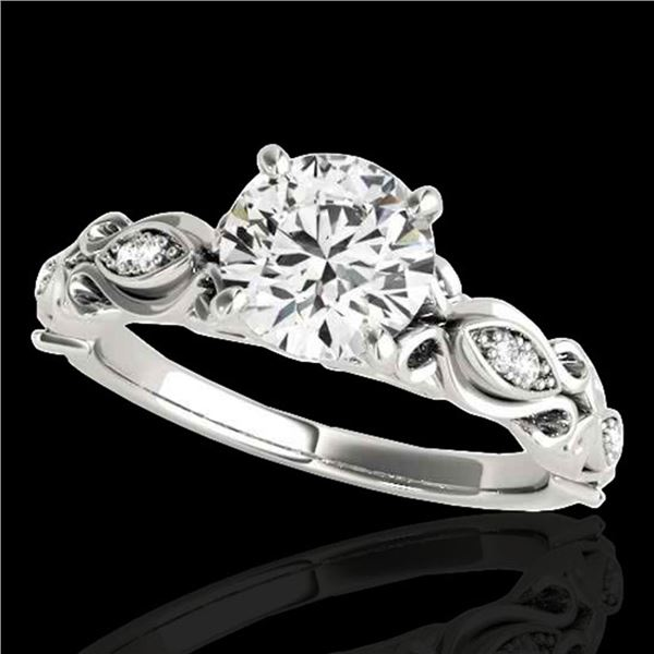 1.1 ctw Certified Diamond Solitaire Antique Ring 10k White Gold - REF-184N3F