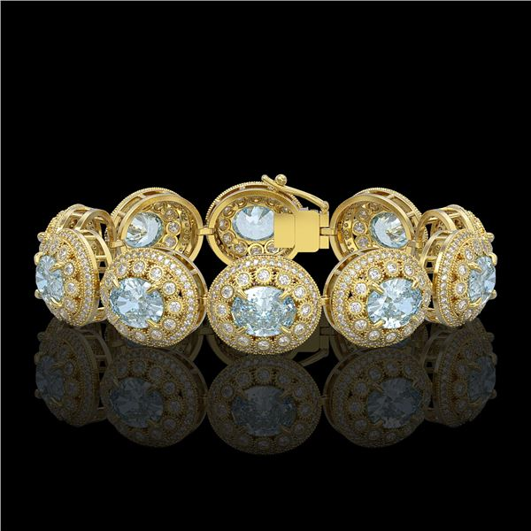 39.82 ctw Aquamarine & Diamond Victorian Bracelet 14K Yellow Gold - REF-1218W2H