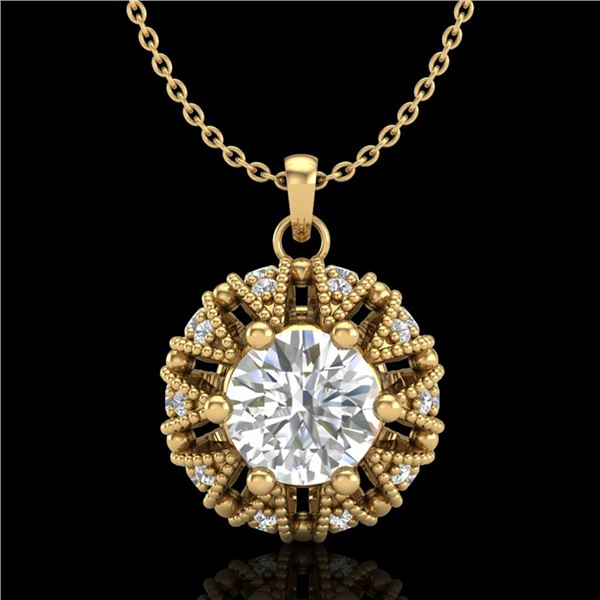 1.2 ctw VS/SI Diamond Art Deco Micro Pave Stud Necklace 18k Yellow Gold - REF-220W2H