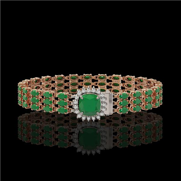 31.91 ctw Emerald & Diamond Bracelet 14K Rose Gold - REF-312W5H