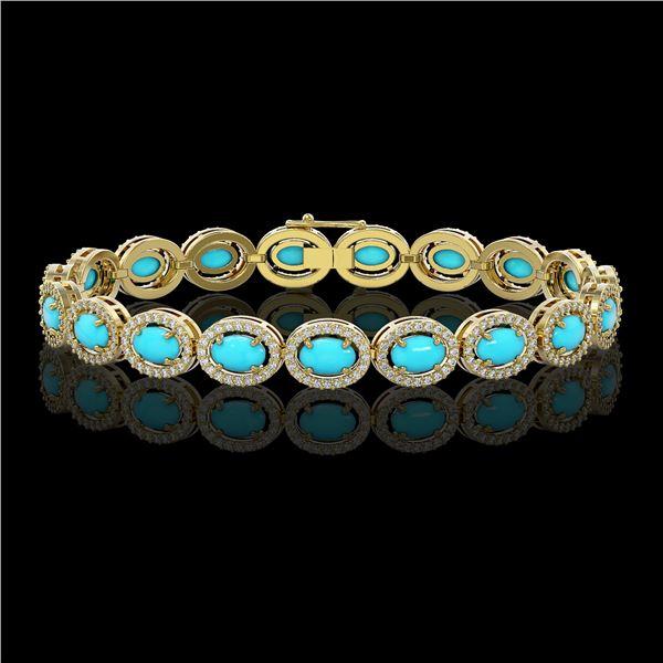 11.40 ctw Turquoise & Diamond Micro Pave Halo Bracelet 10k Yellow Gold - REF-227H8R