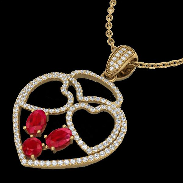 3 ctw Ruby & Micro Pave Designer Heart Necklace 14k Yellow Gold - REF-134H5R