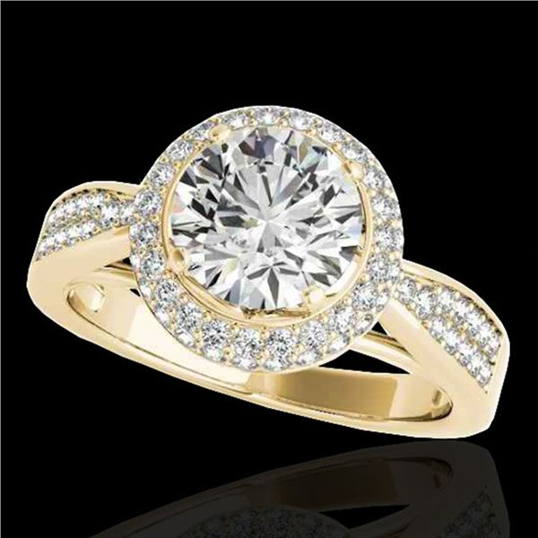 1.65 ctw Certified Diamond Solitaire Halo Ring 10k Yellow Gold - REF-204M5G