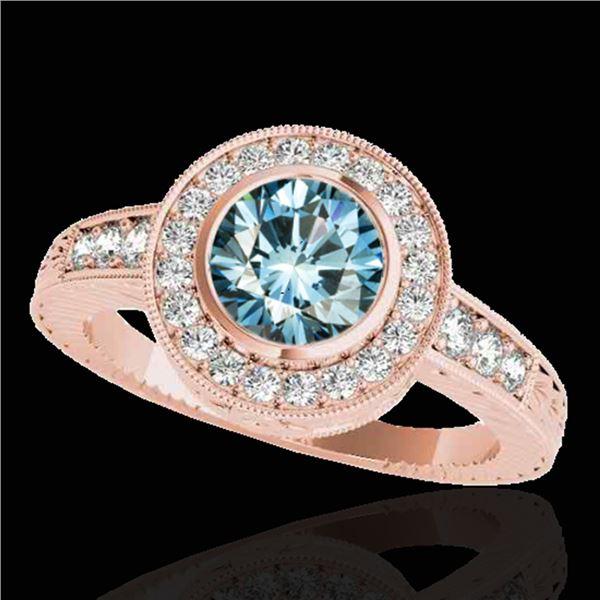 1.50 ctw SI Certified Fancy Blue Diamond Halo Ring 10k Rose Gold - REF-128H2R