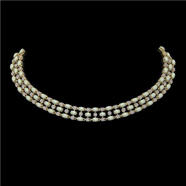 30.83 ctw Opal & Diamond Necklace 10K Yellow Gold - REF-527G3W