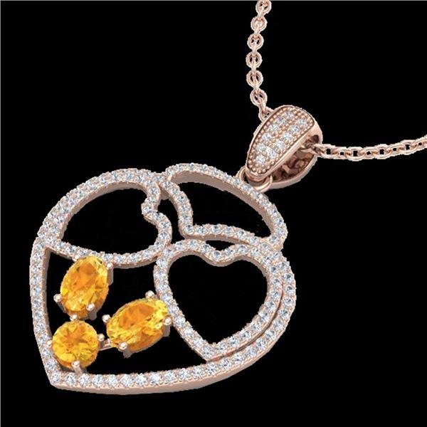 3 ctw Citrine & Micro Pave Designer Heart Necklace 14k Rose Gold - REF-134K5Y
