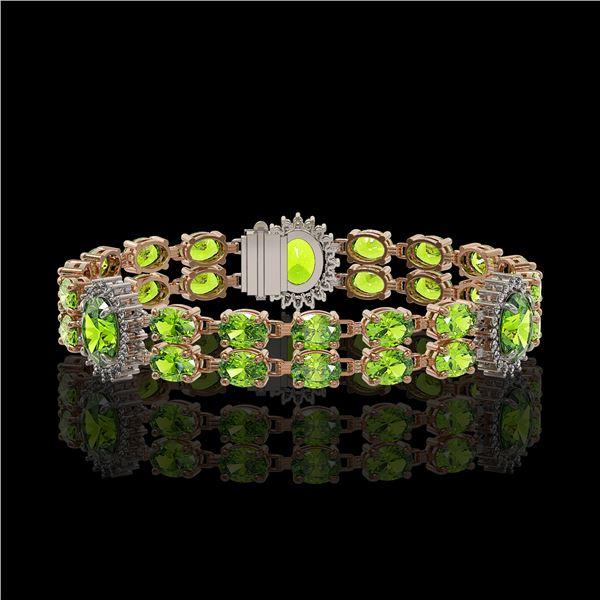 18.66 ctw Peridot & Diamond Bracelet 14K Rose Gold - REF-254K5Y