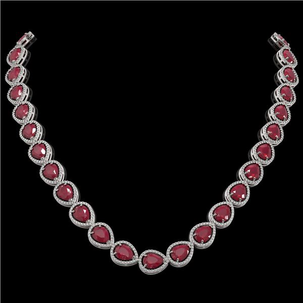 64.01 ctw Ruby & Diamond Micro Pave Halo Necklace 10k White Gold - REF-854A5N