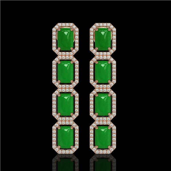 11.93 ctw Jade & Diamond Micro Pave Halo Earrings 10k Rose Gold - REF-146A4N
