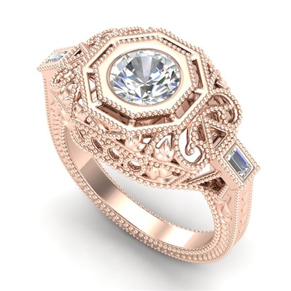1.13 ctw VS/SI Diamond Solitaire Art Deco Ring 18k Rose Gold - REF-360K2Y