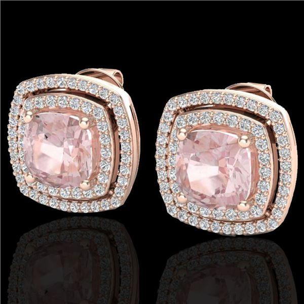 3.95 ctw Morganite & Micro Pave VS/SI Diamond Earrings 14k Rose Gold - REF-106K2Y