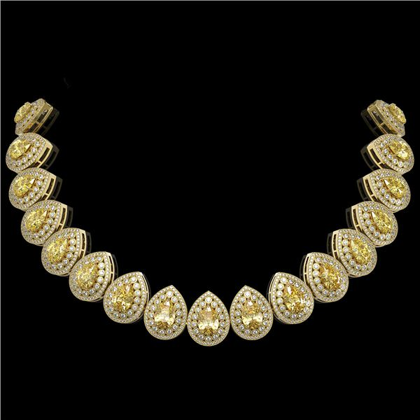 103.62 ctw Canary Citrine & Diamond Victorian Necklace 14K Yellow Gold - REF-3002M4G