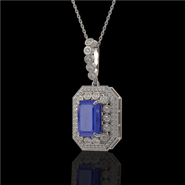 7.18 ctw Sapphire & Diamond Victorian Necklace 14K White Gold - REF-172W8H