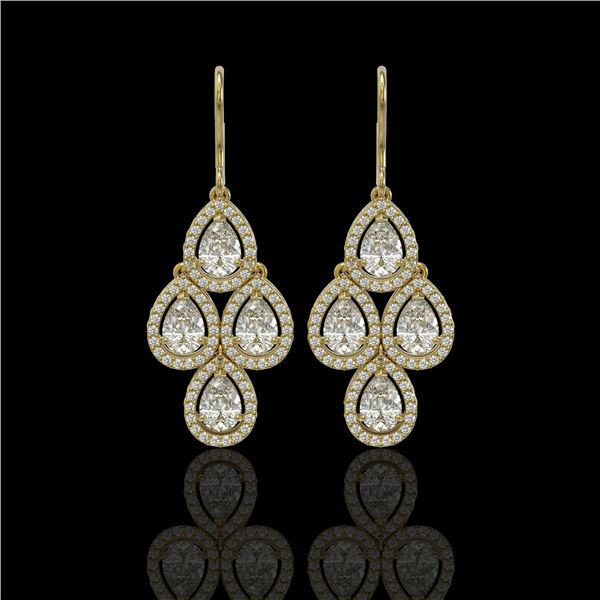 5.22 ctw Pear Cut Diamond Micro Pave Earrings 18K Yellow Gold - REF-727A2N