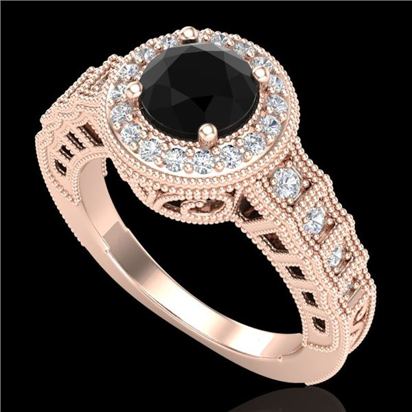 1.53 ctw Fancy Black Diamond Engagment Art Deco Ring 18k Rose Gold - REF-127G3W