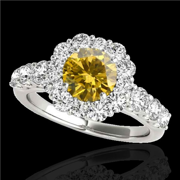 2.25 ctw Certified SI/I Fancy Intense Yellow Diamond Ring 10k White Gold - REF-231X8A