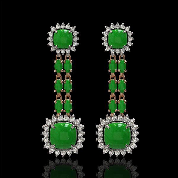 16.72 ctw Jade & Diamond Earrings 14K Rose Gold - REF-226Y8X
