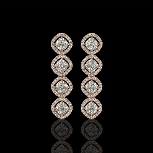 5.28 ctw Cushion Cut Diamond Micro Pave Earrings 18K Rose Gold - REF-736R2K
