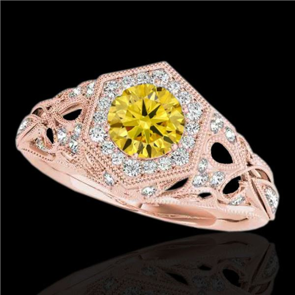 1.4 ctw SI/I Fancy Intense Yellow Diamond Antique Ring 10k Rose Gold - REF-203K2Y