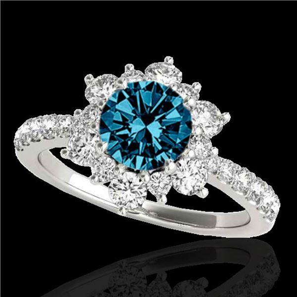 2.19 ctw SI Certified Fancy Blue Diamond Halo Ring 10k White Gold - REF-194W3H