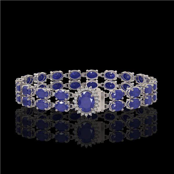30.12 ctw Sapphire & Diamond Bracelet 14K White Gold - REF-336A4N