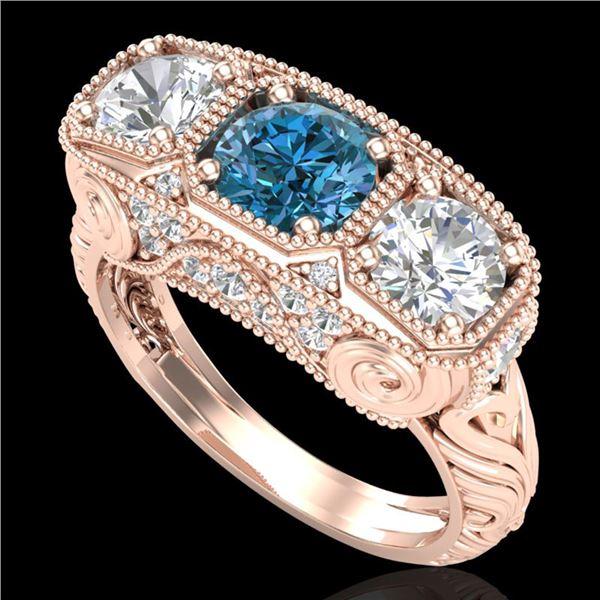 2.51 ctw Intense Blue Diamond Art Deco 3 Stone Ring 18k Rose Gold - REF-345F5M