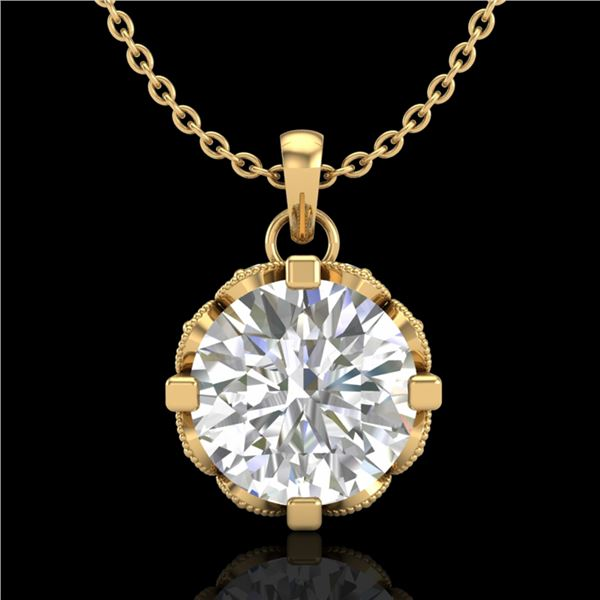 1.5 ctw VS/SI Diamond Solitaire Art Deco Stud Necklace 18k Yellow Gold - REF-363N5F