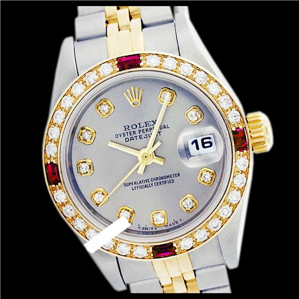 Rolex Ladies Two Tone 14K Gold/ss, Diam Dial & Diam/Ruby Bezel, Sapphire Crystal