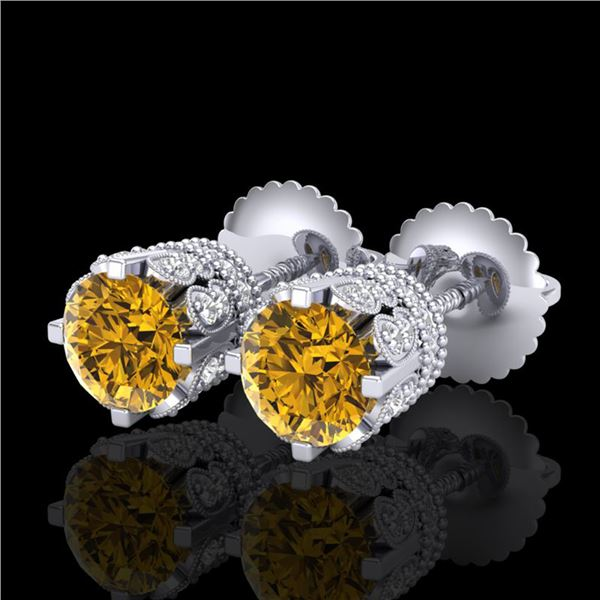 1.75 ctw Intense Fancy Yellow Diamond Art Deco Earrings 18k White Gold - REF-172G8W