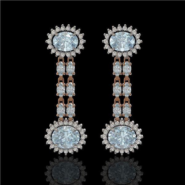 9.85 ctw Sky Topaz & Diamond Earrings 14K Rose Gold - REF-143Y5X