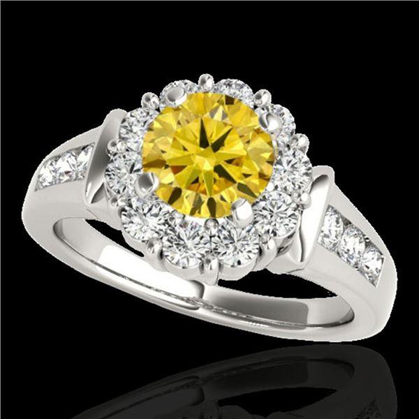 1.9 ctw Certified SI/I Fancy Intense Yellow Diamond Ring 10k White Gold - REF-216G8W