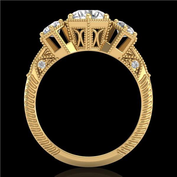 1.66 ctw VS/SI Diamond Solitaire Art Deco 3 Stone Ring 18k Yellow Gold - REF-445R5K