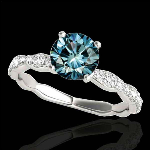1.4 ctw SI Certified Fancy Blue Diamond Solitaire Ring 10k White Gold - REF-117W3H