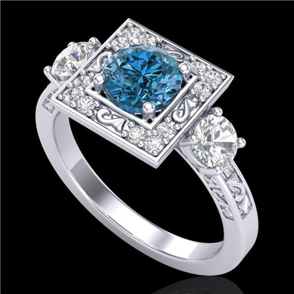 1.55 ctw Intense Blue Diamond Art Deco 3 Stone Ring 18k White Gold - REF-178R2K