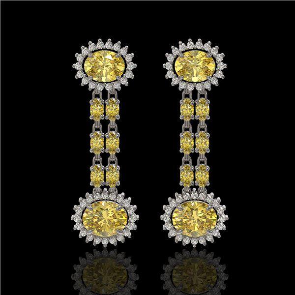 8.35 ctw Citrine & Diamond Earrings 14K White Gold - REF-144N2F