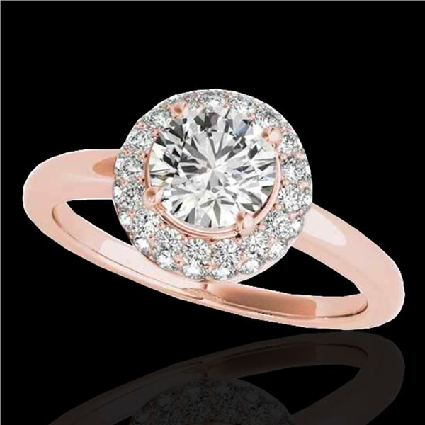 1.43 ctw Certified Diamond Solitaire Halo Ring 10k Rose Gold - REF-197A8N