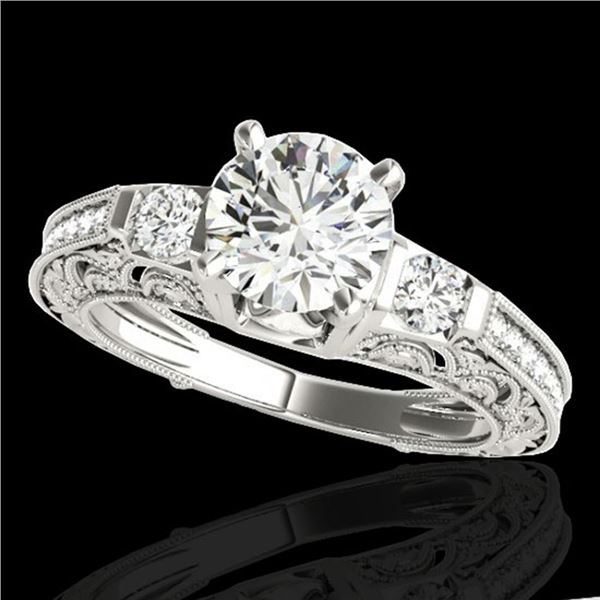 1.63 ctw Certified Diamond Solitaire Antique Ring 10k White Gold - REF-259N3F