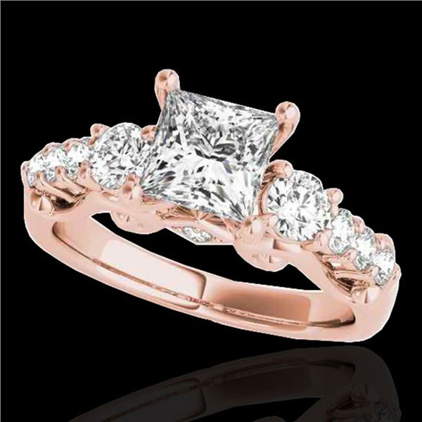 1.75 ctw VS/SI Certified Princess Diamond 3 Stone Ring 10k Rose Gold - REF-296X2A