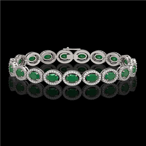 15.2 ctw Emerald & Diamond Micro Pave Halo Bracelet 10k White Gold - REF-300A2N