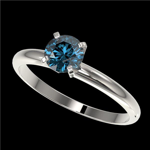 0.77 ctw Certified Intense Blue Diamond Engagment Ring 10k White Gold - REF-67H5R