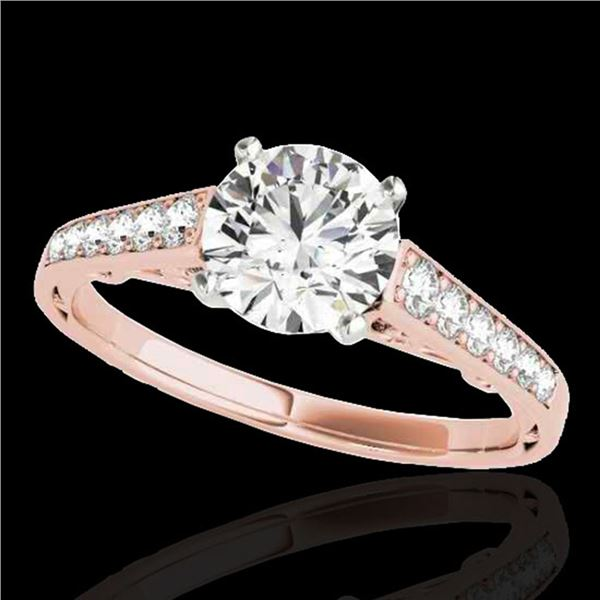 1.35 ctw Certified Diamond Solitaire Ring 10k Rose Gold - REF-177W3H