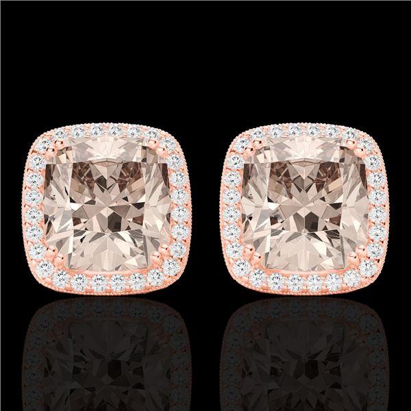 6 ctw Morganite & Micro Pave VS/SI Diamond Earrings 14k Rose Gold - REF-106R2K