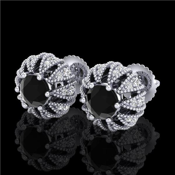 2.01 ctw Fancy Black Diamond Art Deco Micro Pave Earrings 18k White Gold - REF-143A6N