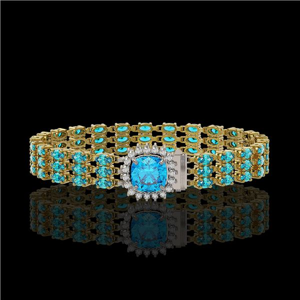 29.89 ctw Swiss Topaz & Diamond Bracelet 14K Yellow Gold - REF-281K8Y