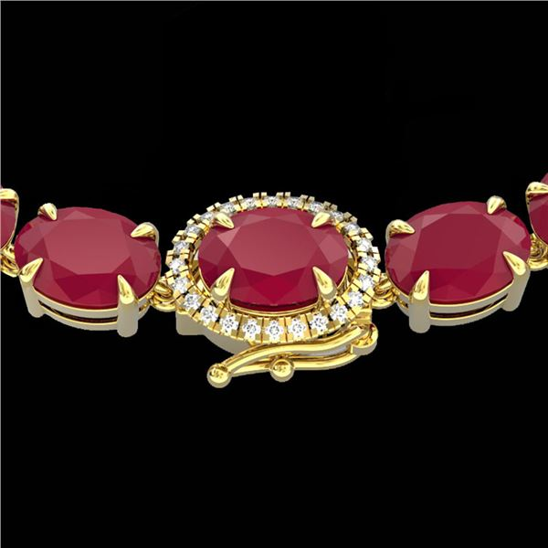 54.25 ctw Ruby & VS/SI Diamond Eternity Micro Necklace 14k Yellow Gold - REF-345A5N