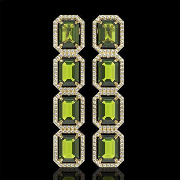 19.44 ctw Tourmaline & Diamond Micro Pave Halo Earrings 10k Yellow Gold - REF-258K9Y