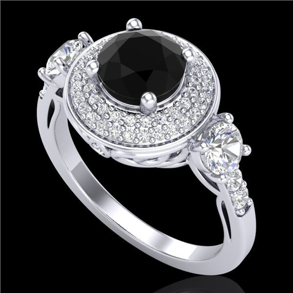 2.05 ctw Fancy Black Diamond Art Deco 3 Stone Ring 18k White Gold - REF-180G2W