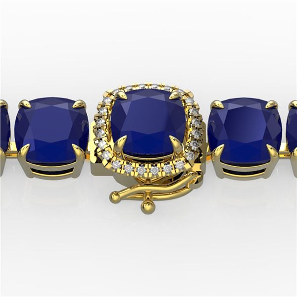 46 ctw Sapphire & Micro Pave Diamond Bracelet 14k Yellow Gold - REF-345H5R